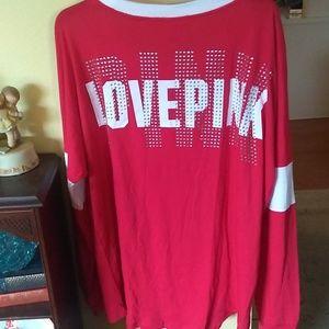 VS Pink bling campus tee sz XL NWT